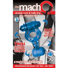 Macho Dbl Cock and Balls Ring - Blue