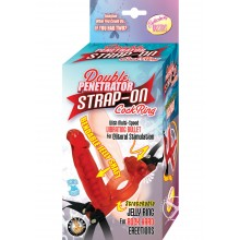 Double Penetrator Strap On C Ring - Red