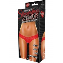 Clitoral Stim Thong W/beads Red M/l