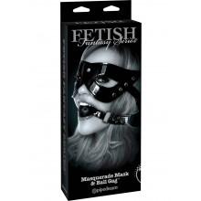 Ffle Masquerade Mask and Ball Gag Black