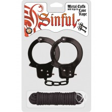 Sinful Metal Cuffs W/keys Love Rope Blac