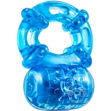 Blush Novelties Stay Hard 5 Function Cock Ring Reusable Blue Hush USA