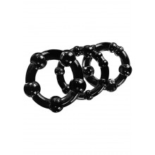 Blush Novelties Stay Hard Beaded Cock Rings Black 3 Pack Hush USA